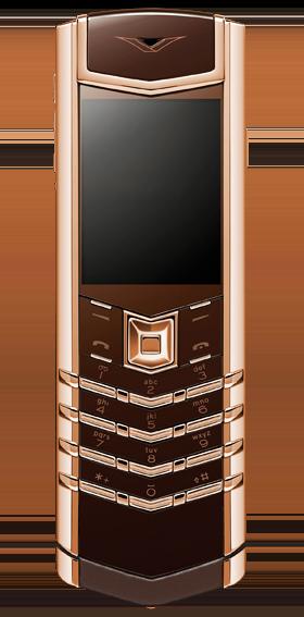 Vertu Signature S Design Red Gold Brown Leather