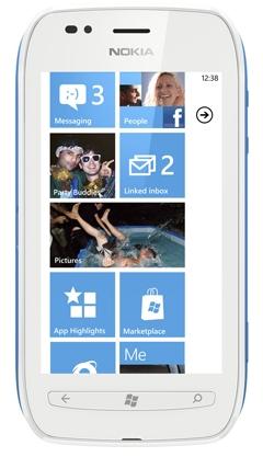 Nokia Lumia 710 бело-синяя